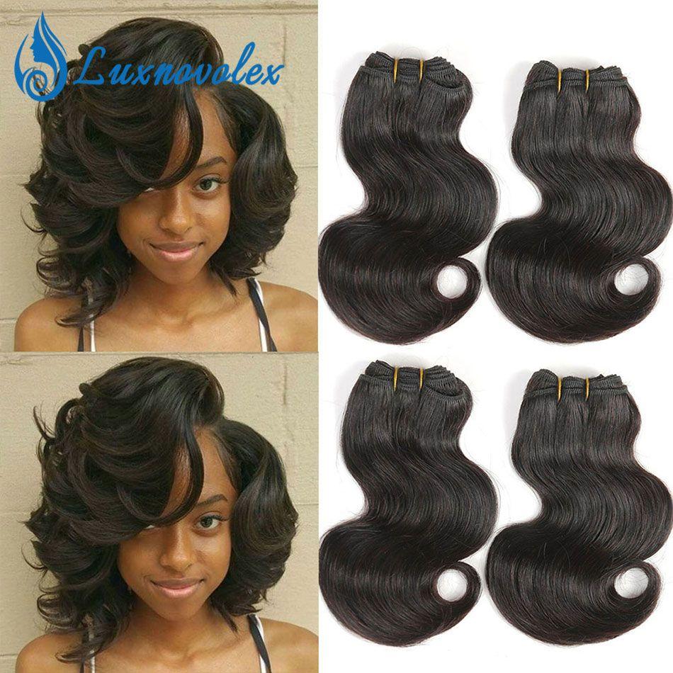 Malese capelli dell'onda del corpo 4 bundles 8 pollici capelli corti estensioni 7a malese tessuto dei capelli umani vergini fazzoletti 50 g / pz totale 200g