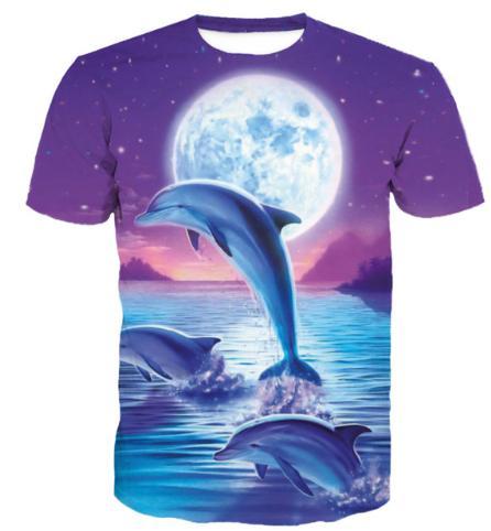 New Arrival Men/Women Purple Sky Jumping Dolphin 3D Printed T-shirt Summe Style Fashion High Quality Casual T-shirt S-XXXXXXXL U559