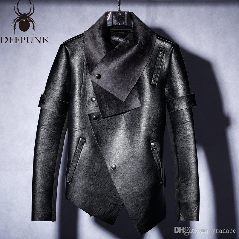 Nova 2018 homens de couro e veludo inverno tendência de jaqueta de motoqueiro irregular Slim homens jaqueta de couro