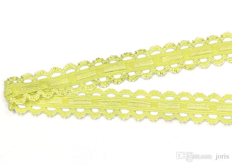 Yellow mesh lace Picot Nylon webbing knitted elastic ribbons trim fabric woven high quality 16mm wide swimwear straps custom CS22722-16