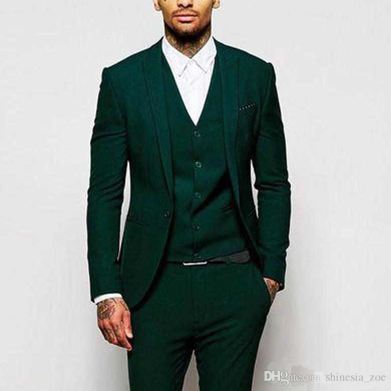 Abiti Da Cerimonia 2018 Uomo.Acquista 2018 Verde Abiti Da Cerimonia Uomo Formale Groomsmen Wear