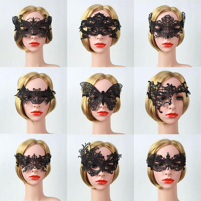 Europe and the United States Christmas hollow lace veil mask masquerade fun lace mask 9 styles