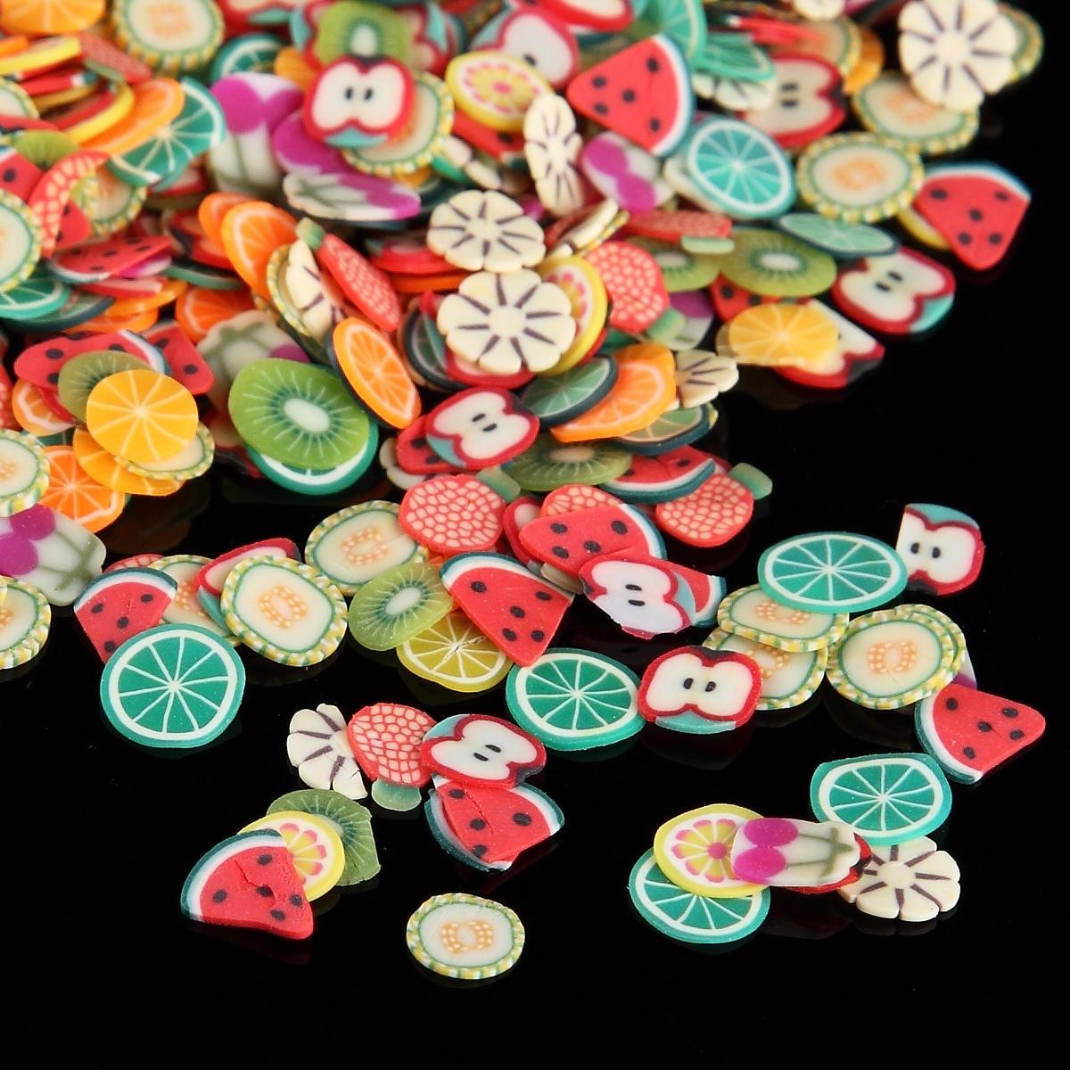 1000 Pcs / Sac Nail Art Polymer Clay Canes Fruits tranche de fimo Ensemble Gel Polonais Conseils De Mode DIY Mignon Été Pastèque Décor Stickers Kit