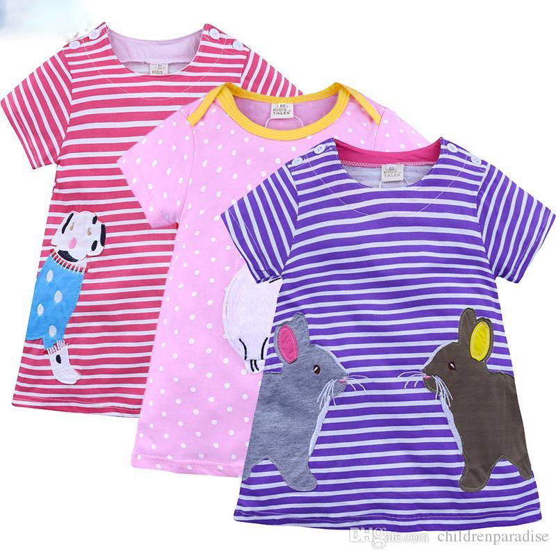 Cartoon Girls Clothes Cotton Girls dressshort Sleeve dress for girl Princess Dress Baby Cotton Dress children clothing