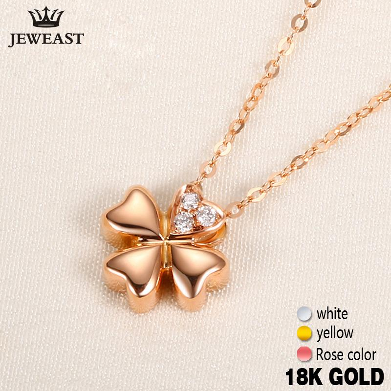 18k Gold Diamond Necklace Pendant Female Women Girl Miss Gift Chain Charm Clover Trendy Party Rose White Yellow Customization S923