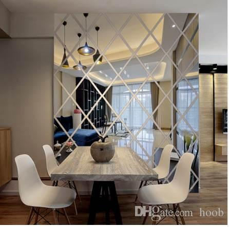 3d wall mirror stickers living room home decoration modern diamond pattern diy wall decals sticker acrylic decorative sticker