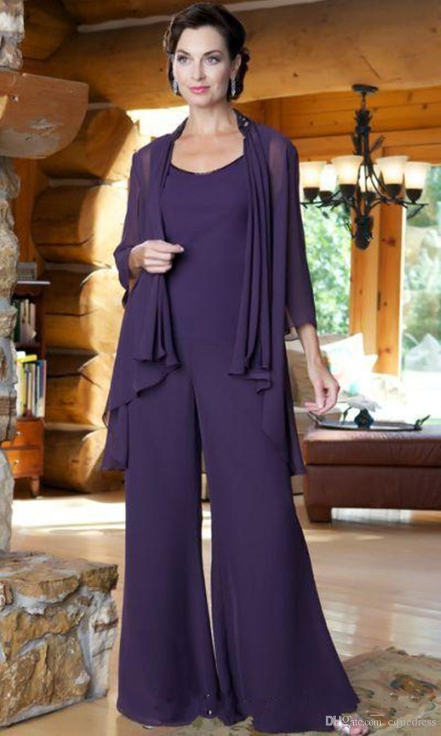Traje púrpura Prom Party gasa Tres pedazos de las mujeres de las bragas con la chaqueta de manga larga 2018 Nuevo más el tamaño de la madre del traje del novio