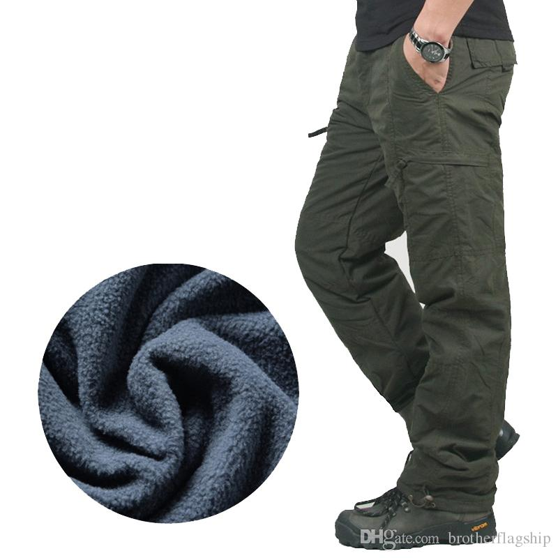 Winter Double Layer Men's Cargo Pants Warm Baggy Pants Cotton Trousers For Men Male Military Camouflage Tactical