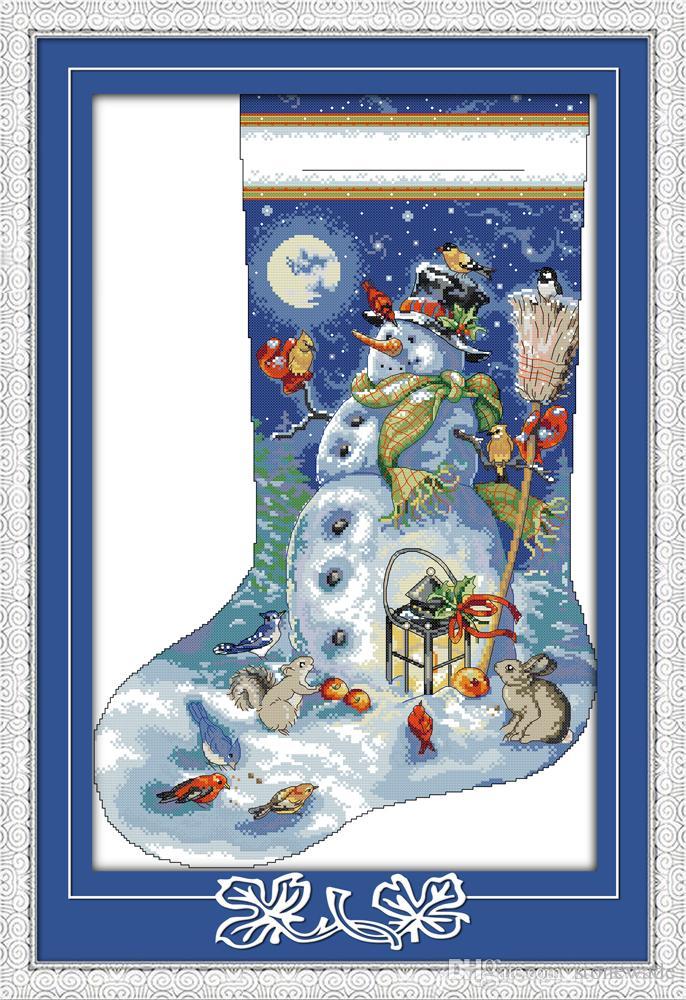 Muñeco de nieve pacífico con animales, pinturas para la decoración del hogar, bordados a mano, punto de cruz, bordado, estampado contado sobre lienzo, DMC, 14 u. / 11 u.