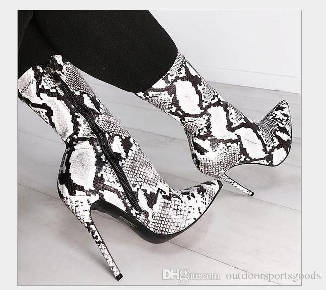 Sexy PU Serpentine Leopard stiletto boots for women 11.5 CM high-heeled fashion boots zipper Long trunk cool boots tip