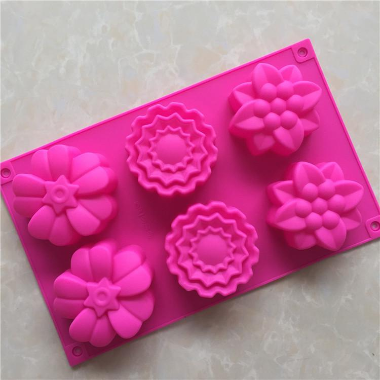 DIY Cook Mould 6 Even 3 Group Differ Flower Shape Silica Gel Cake Model Moon Cake Mold Fragrance Gypsum Die Stripping No Fade