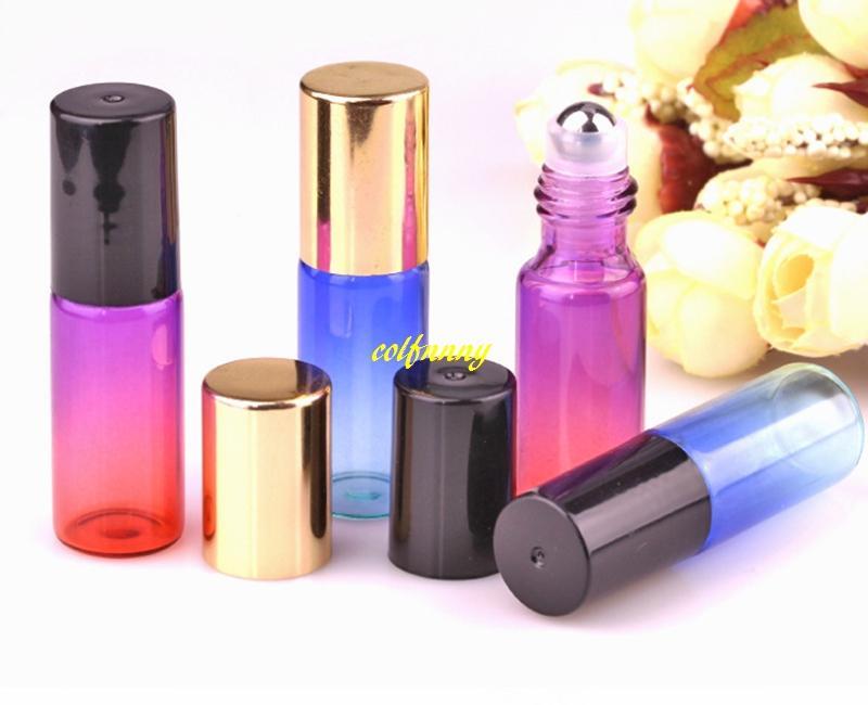 200pcs / lot 5ml قوس قزح الزجاج لفة على زجاجة مع الأسطوانة الفولاذ المقاوم للصدأ صغيرة من الضروري النفط الأسطوانة على زجاجة عينة