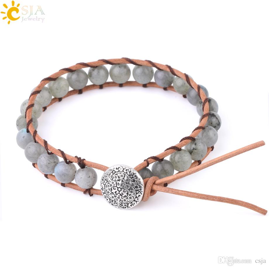 CSJA 8mm Gems Beaded Bracelet Bohemian Handmade Fine Jewelry for Women Natural Stone Spectrolite Labradorite Genuine Leather Bracelets F622
