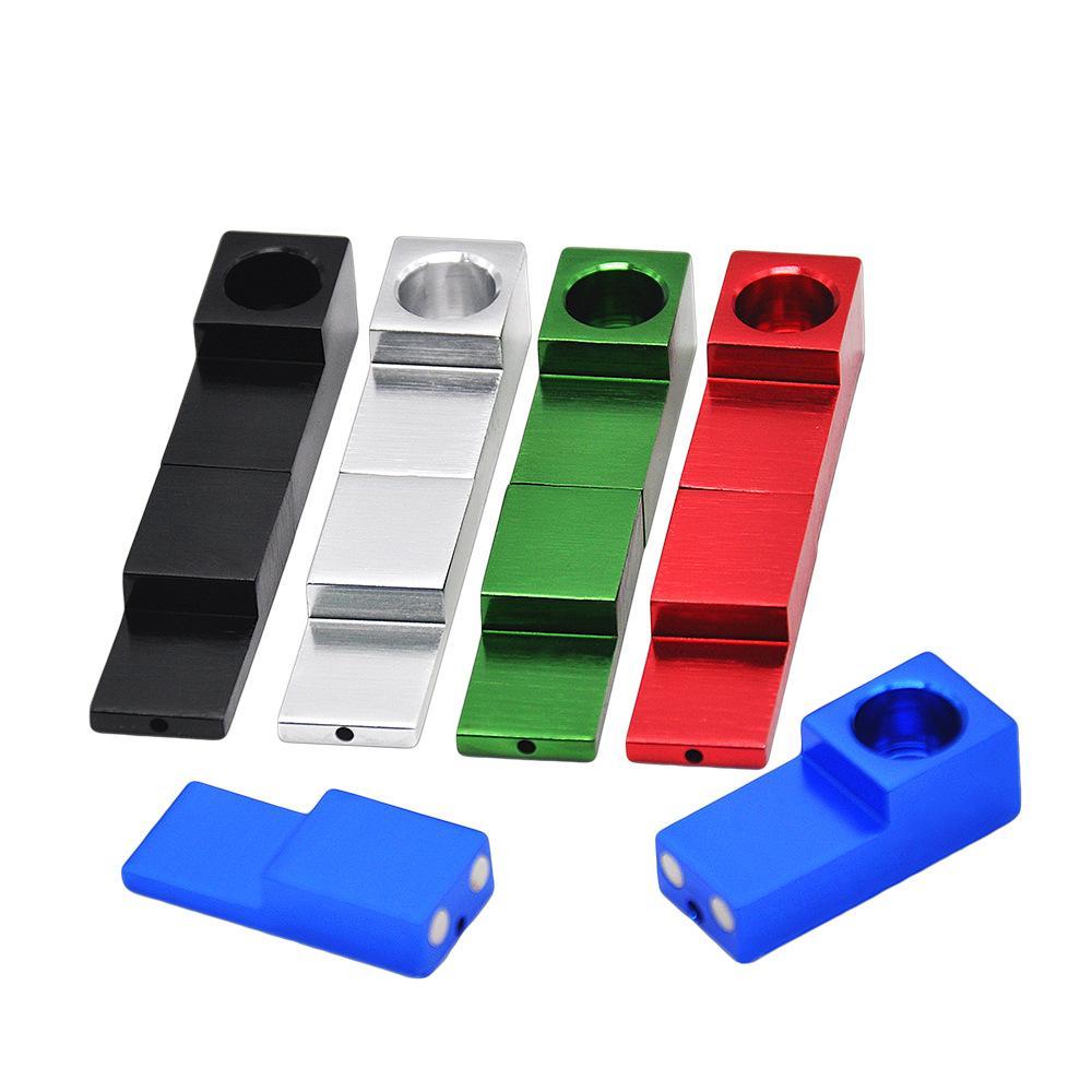 Tuyaux d'aimant de tabac pour le tuyau de tabagisme en gros Mini Portable Forme De Sifflet En Métal Pliant Fumer Des Tuyaux c722