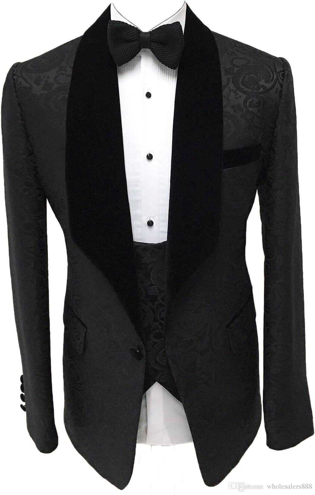 Newest Groomsmen Black Pattern Groom Tuxedos Shawl Velvet Lapel Men Suits Side Vent Wedding/Prom Best Man ( Jacket+Pants+Tie+Vest ) K995