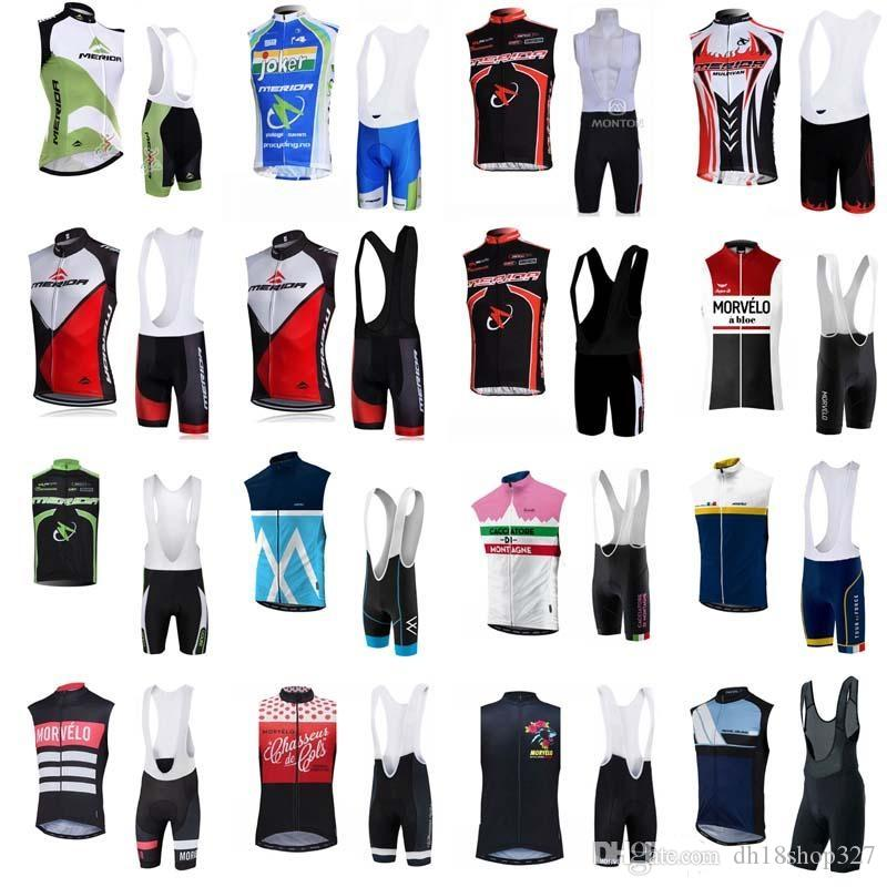 Morvelo MERIDA 팀 사이클링 민소매 저지 조끼 (턱받이) 반바지 세트 반바지 세트 빠른 건조 자전거 저지 사이클링 스포츠웨어