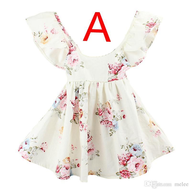 INS Summer New baby girls Vestido de playa Floral verano Lotus hoja Halter Niños Flores vestido de impresión Ropa de Niños 1-6 Años envío gratis