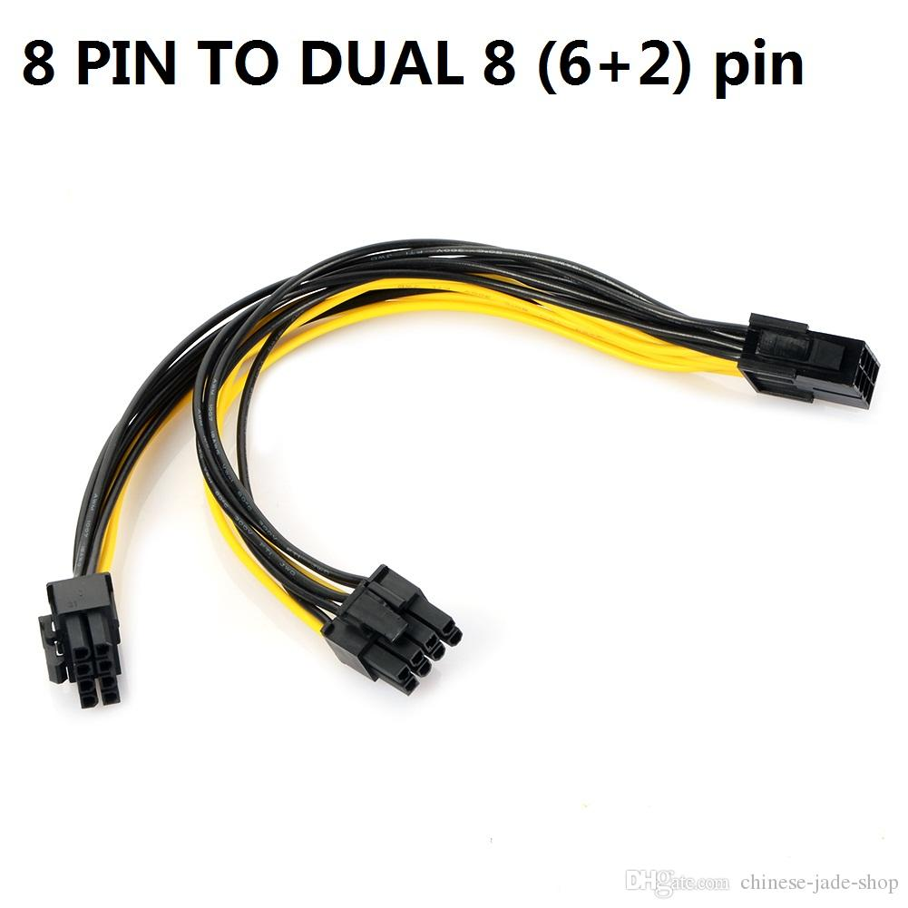 18 AWG Dual 6 Pin Female To 8 Pin Male Power Cable For Graphics Cards GPU !