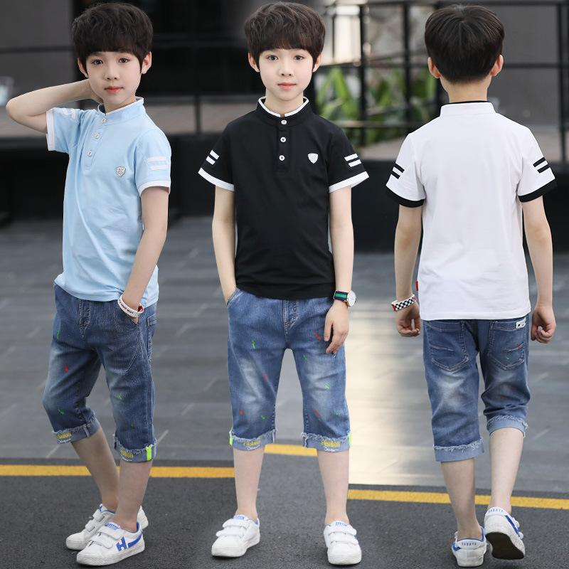 Дети мальчики летние костюмы китайские дети рубашка воротник и короткие рукава из двух комплектов 2018 новых мальчиков Оптовая детская одежда