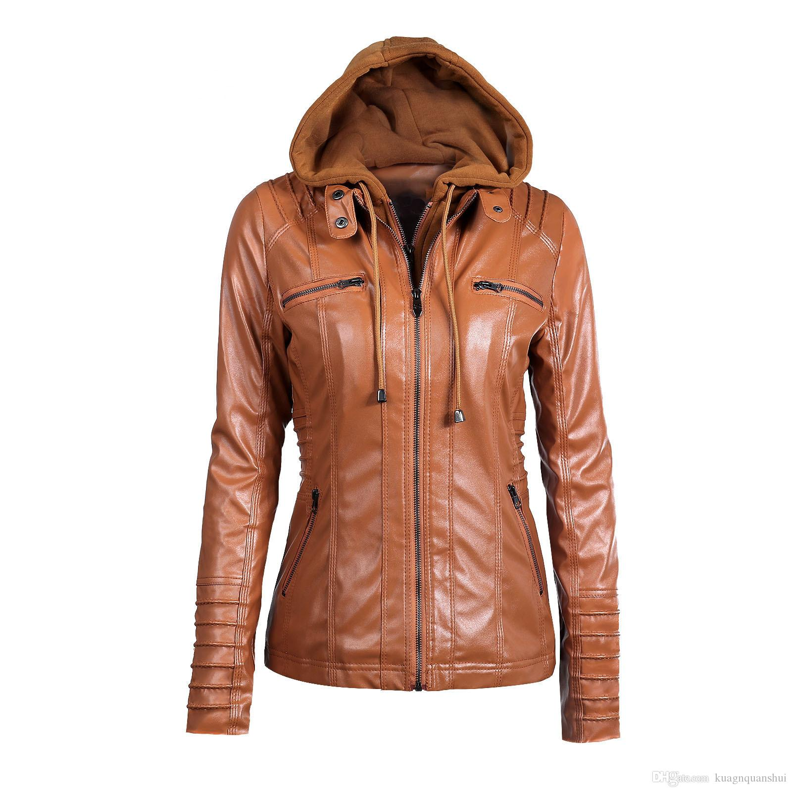 Wholesale- Fashion Winter Leather Women Jacket Hot Sale Ladies Hoodies Warm Jacket Noble Women Jacket for Free Shippng