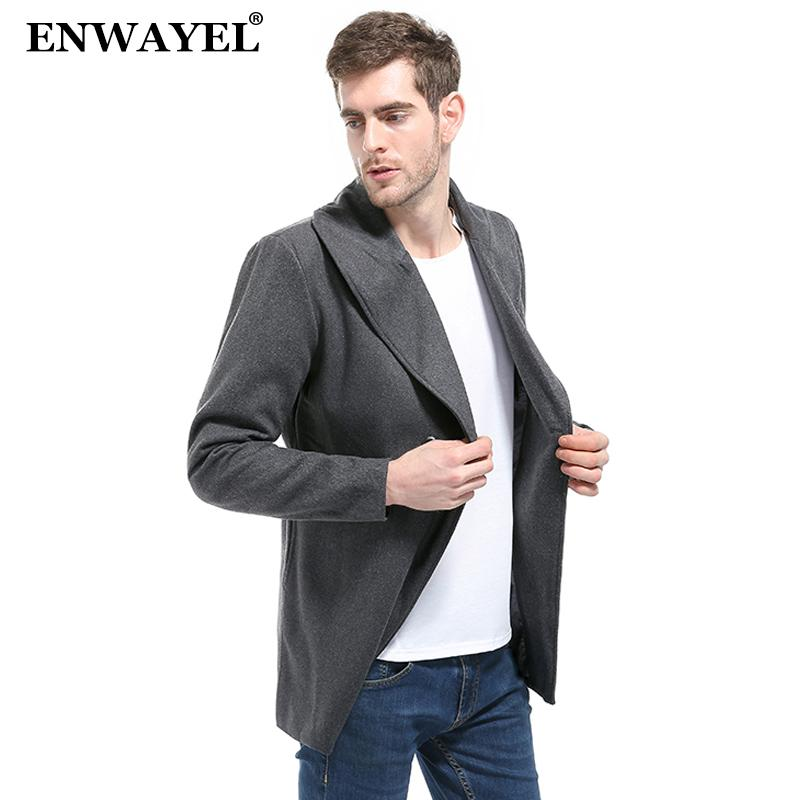 ENWAYEL 2018 Autumn Winter Casual Men Jacket Coat Wool Blends Long Overcoat Slim Fit Male Outerwear Fashion  Clothing FY10