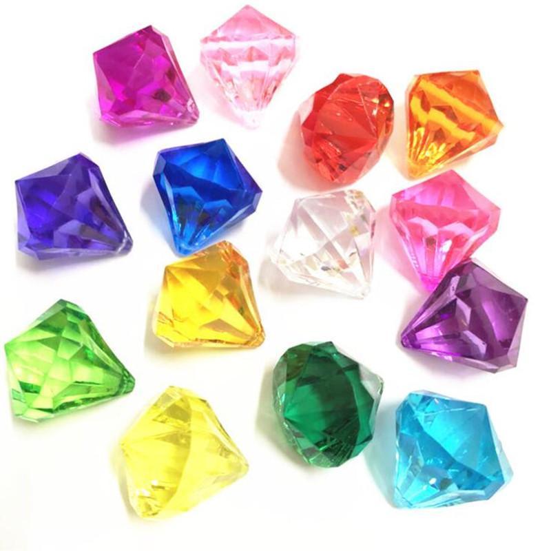 Nuovi gioielli di diamanti colorati Faux Treasure Chest Pirate Acrilico Crystal Gems Vaso Filler Bambini Festa di compleanno Regalo di favore