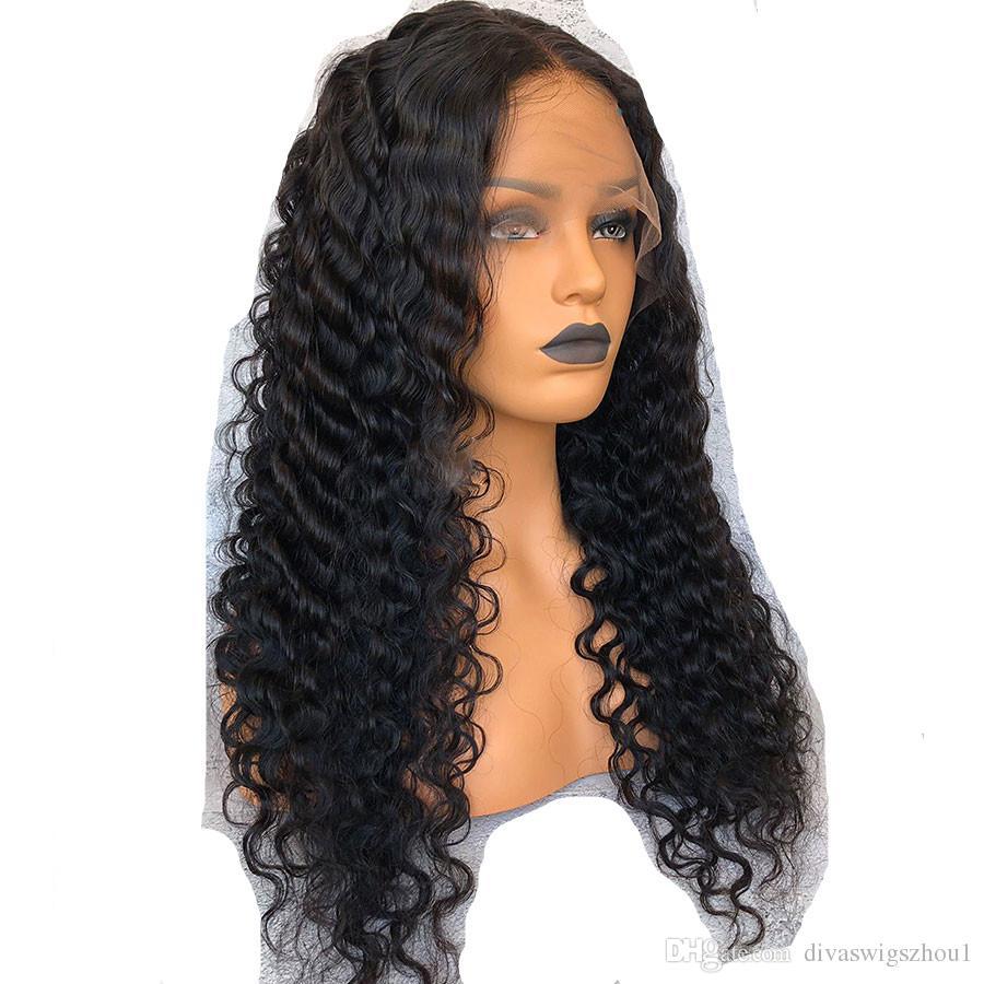 """Peluca frontal de encaje 360 Pelucas de pelo humano preencogido natural del frente del cordón Pelucas de cabello humano oscuro para mujeres negras Peluca rizada profunda con pelo de bebé color negro 12 """""""