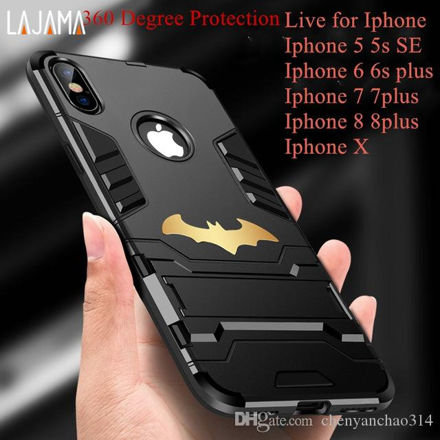 360 degree Strong Protection Phone cases for Iphone 6 6s Plus cases AntiKnock Mobile Phone cover for Iphone 5 5s se 7 8 plus X