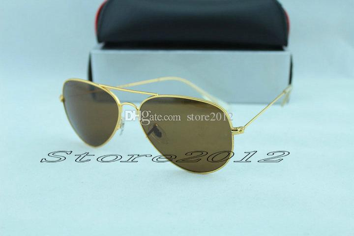 Designer Classic Sunglasses Mens Womes Sun Glasses Eyewear Gold Frame Brown 58mm Glass Lenses Large Metal free shipping