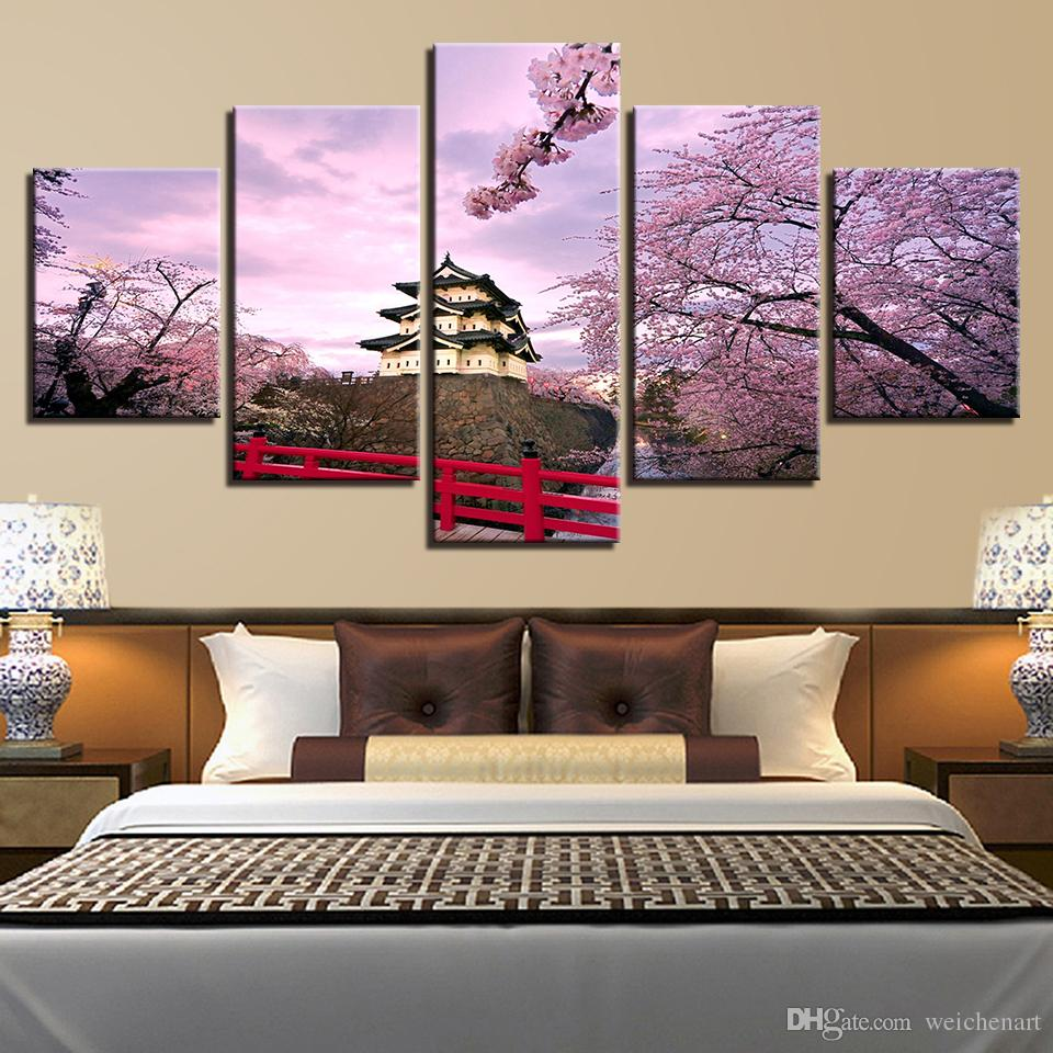 Canvas Paintings Wall Art HD Prints Ancient Building Pictures Framework 5 Pieces Cherry Blossoms Castle House Posters Home Decor