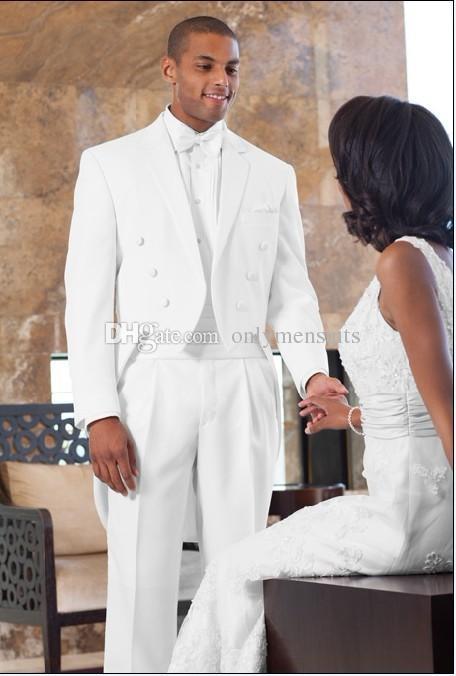 High Quality Groomsmen Notch Lapel Groom Tuxedos White Tailcoat Style Men Suits Wedding/Prom Best Man Blazer (Jacket+Pants+Tie)O350