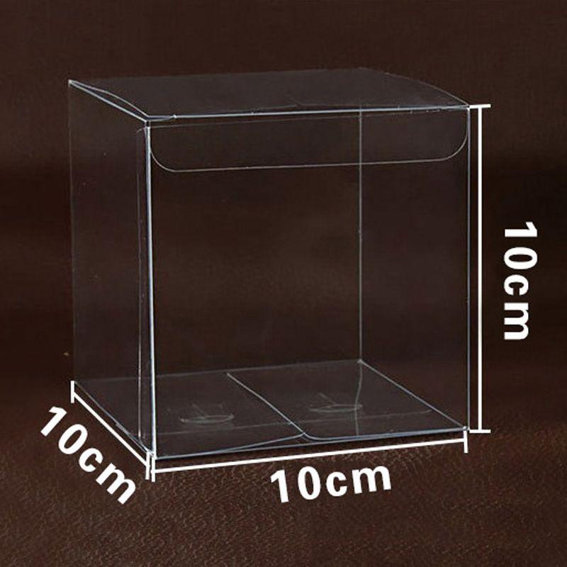 100 шт. 10 * 10 * 10 см квадратных пластиковых прозрачных коробок PVC прозрачный водонепроницаемый свадьба подарочная коробка хранения упаковки коробка EventParty