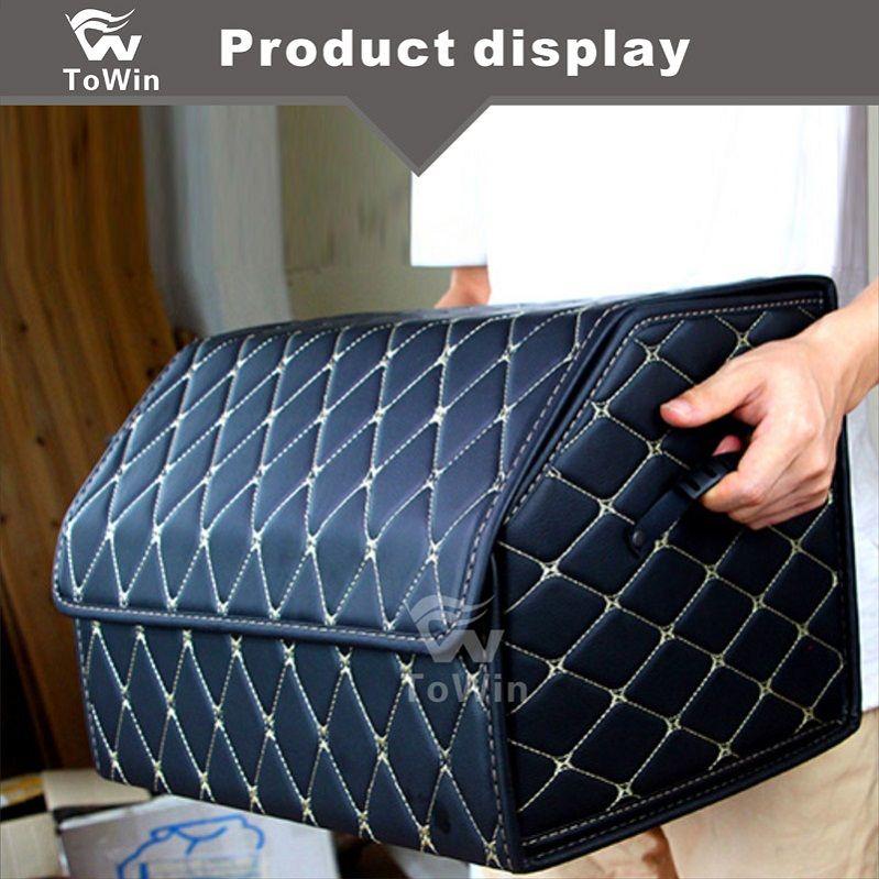 Car leather,Storage Box Trunk Bag Tool Box Multi-use Tools Organizer Bag Carpet Folding Automobiles Back Seat Organizer.