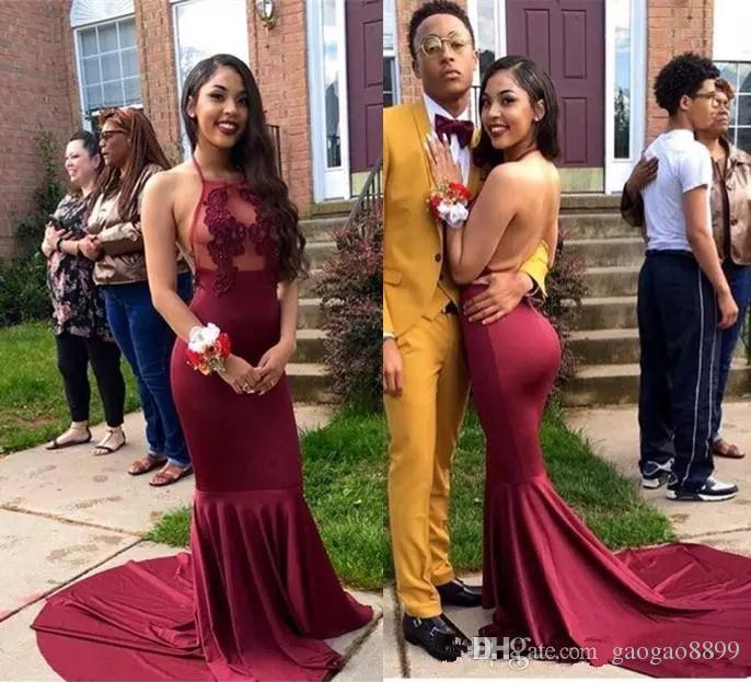 Black Girls Burgundy Mermaid Prom Dresses 2019 Halter Lace Appliques Long celebrity Evening Wear Sexy Illusion Backless African Party Gowns