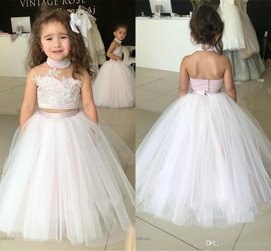 Light Pink Two Pieces Flower Girls Dresses for Pageant High Neck A Line Tulle Puffy Lace Appliques Floor Length Kids Evening Gowns Children