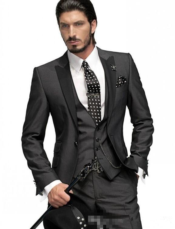 Slim Fit One Button Groom Tuxedos Charcoal Grey Best Man Peak Black Lapel Groomsmen Men Wedding Suits Bridegroom (Jacket+Pants+Tie+Vest)