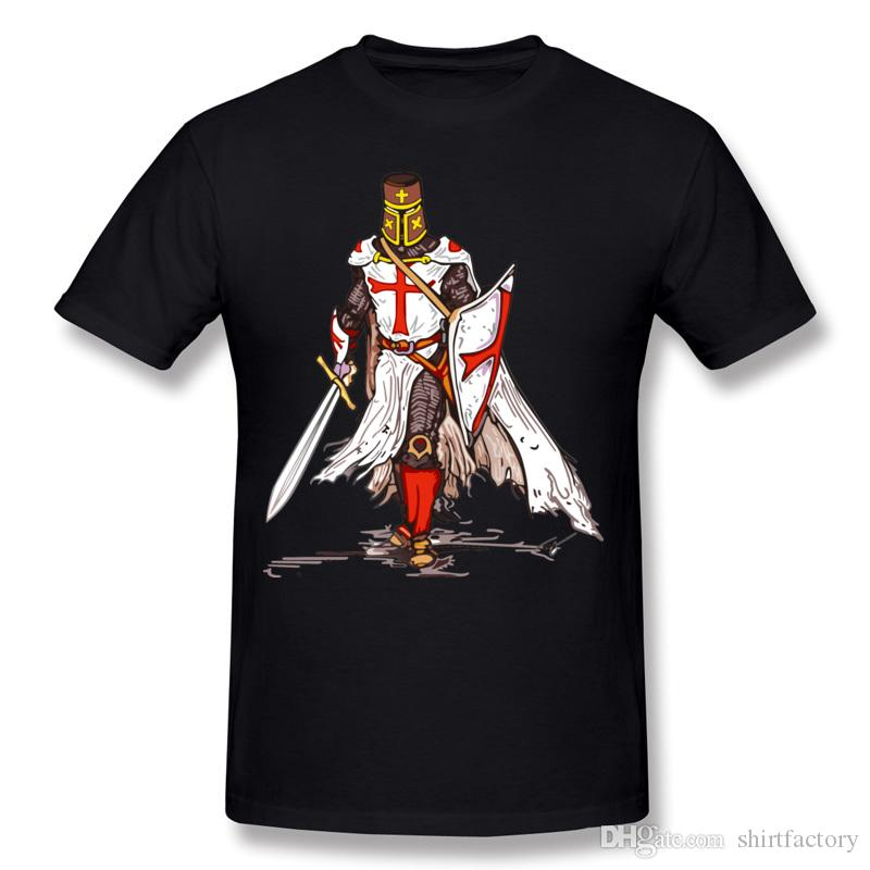 New Arrival Homme 100 % Cotton Templar 기사 티 셔츠 Homme Crewneck 흰색 반팔 티 셔츠 큰 사이즈 사용자 정의 티셔츠