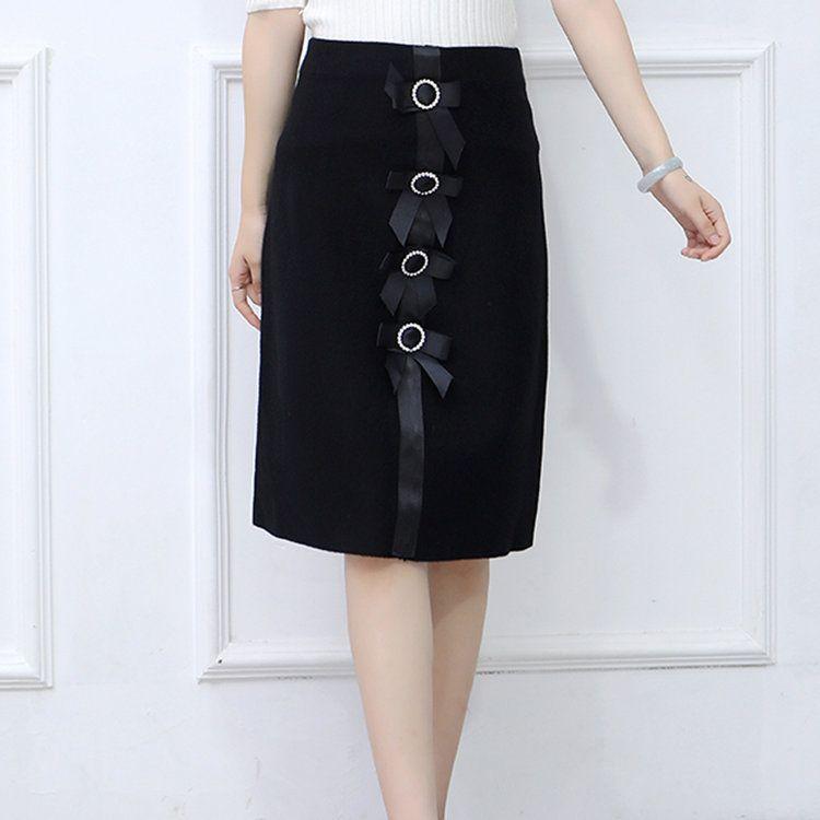 New 2019 Skirt Autumn Elegant Office Skirts Women High Waist Faldas Mujer Casual Black Skirt Chic Bow Saia Femme Invierno (5)
