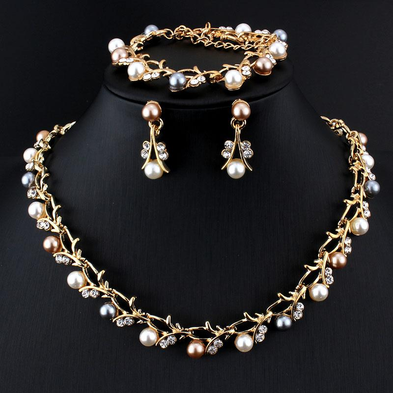 Classic Imitation Pearl Necklace Gold-color Jewelry Set for Women Clear Crystal Elegant Party Gift Fashion Costume