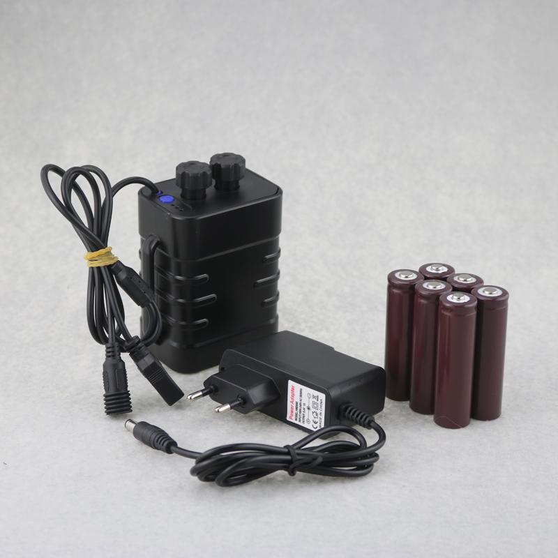 자전거 조명 USB + DC 출력 충전식 18650 배터리 팩 6x18650 9000mAh LED 빛을위한 외부,