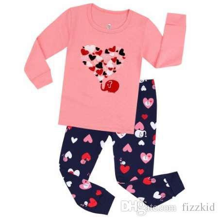 100 Cotton Baby Pajamas Children Emboridery Heart Pajama Pyjamas Kids for 2-7Years Children's Sleepwear Baby Nightwear Pijamas
