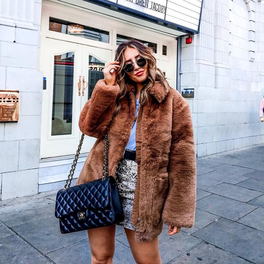 Fluffy faux fur coat women Thicken Winter fake fur Vintage Brown Coat Female Fashion Cardigan Outerwear