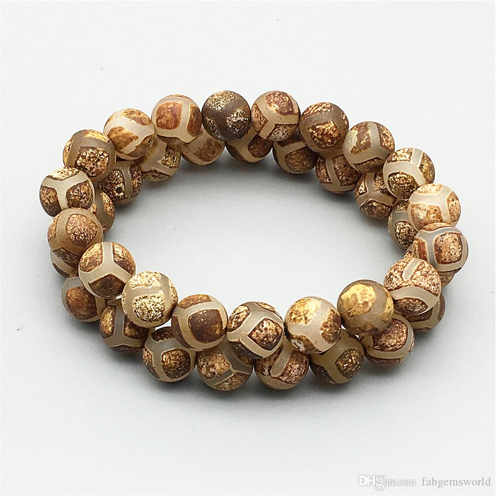 8 мм 10 мм матовый Тибетский Агат бисер браслет, эластичный браслет, коричневый драгоценный камень бисер браслет, подарки