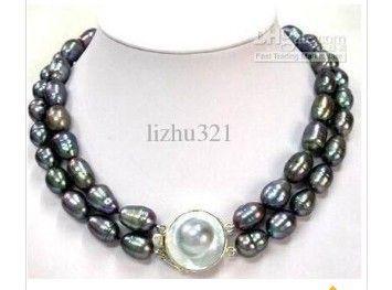 Fine Noblest 2Rows Baroque Black Pearl Necklace