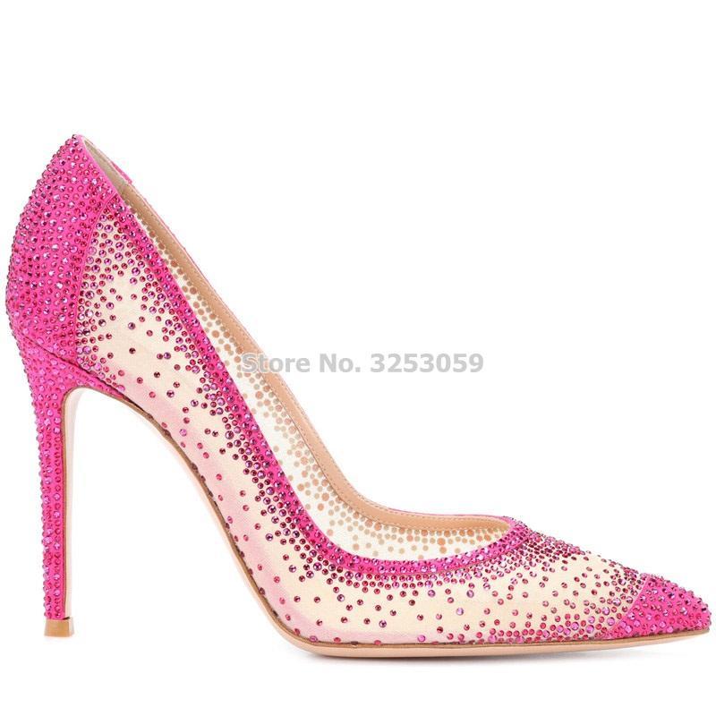 가장 새로운 도착 핑크 베이지 색 hued 블링 크리스탈 장식 복장 펌프 지적 발가락 얕은 메쉬 웨딩 신발 반짝 이는