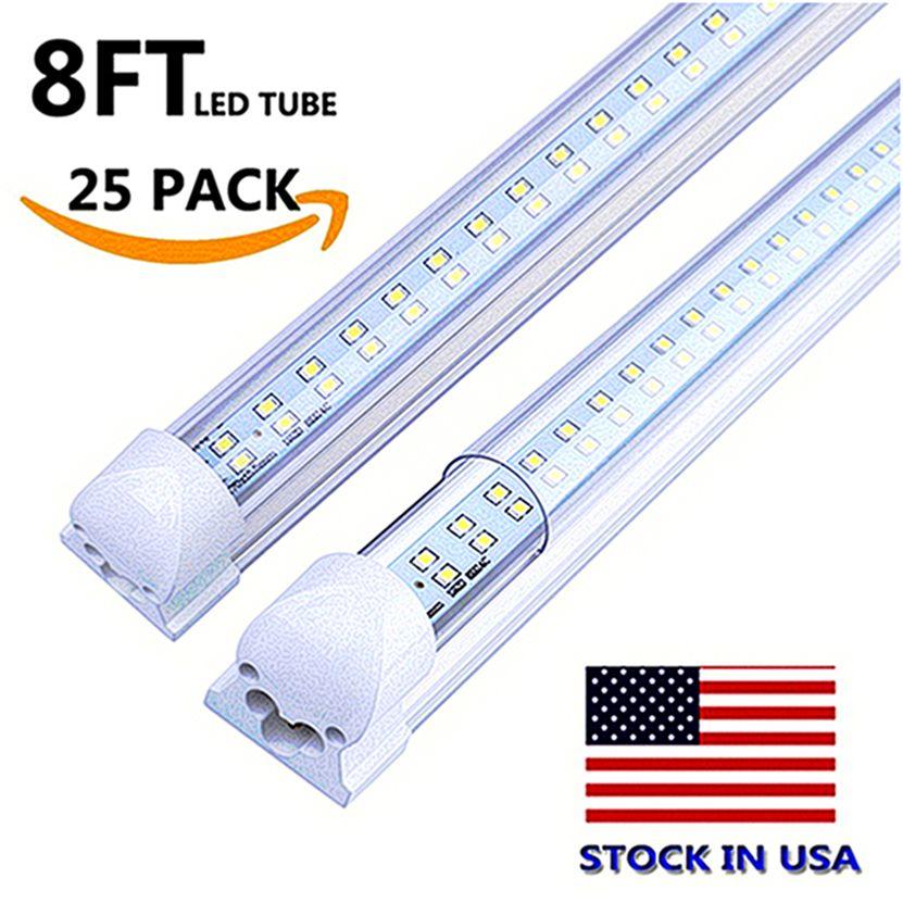STOCK NOS EUA LED tubo de luz oito pés 72W dupla fileira dupla linha integrado lâmpada 2.4m 2.400 milímetros 8 pés AC85-265V 6500lm levaram luzes da loja