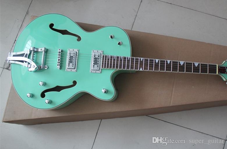Brand New Popular de Alta Qualidade Custom Shop Sky Blue Falcon Corpo Semi Oco 6120 Jazz Guitarra Elétrica Com Tremolo Dourado Hardware