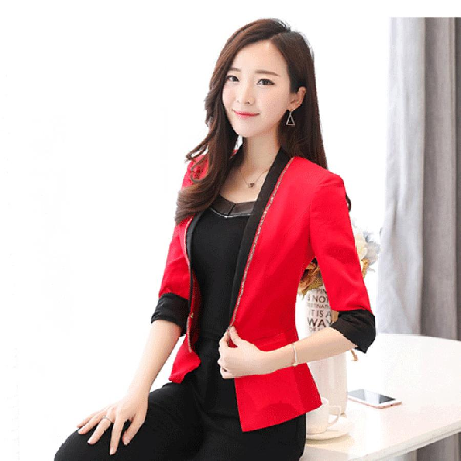 Femme Slim Blazer Femme Costume Court Vestes De Mode, Plus La Taille Rouge Blazer Feminino Costumes Coréens D'affaires Femmes Blazers P4C0986