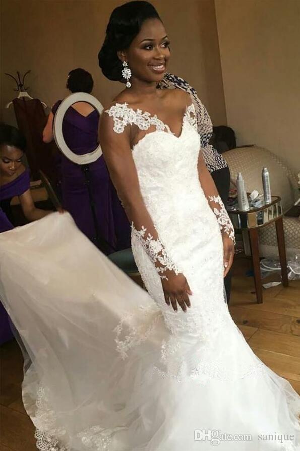 Custom Made 2018 robe de mariée bijou dentelle pure encolure Illusion Appliques sirène manches longues Nigeria Robes de mariée