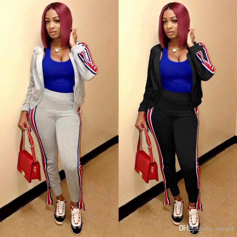 Mulheres 2 Piece Set Top e calças Casual CHEAPEST CAF297 Cardigan 2 Pieces Hoodies Define Cores Preto Grey